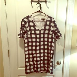 White/blue check dress - Madewell - size 2